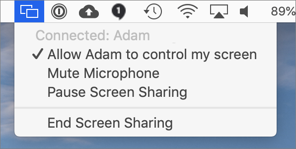 Screen sharing with messages