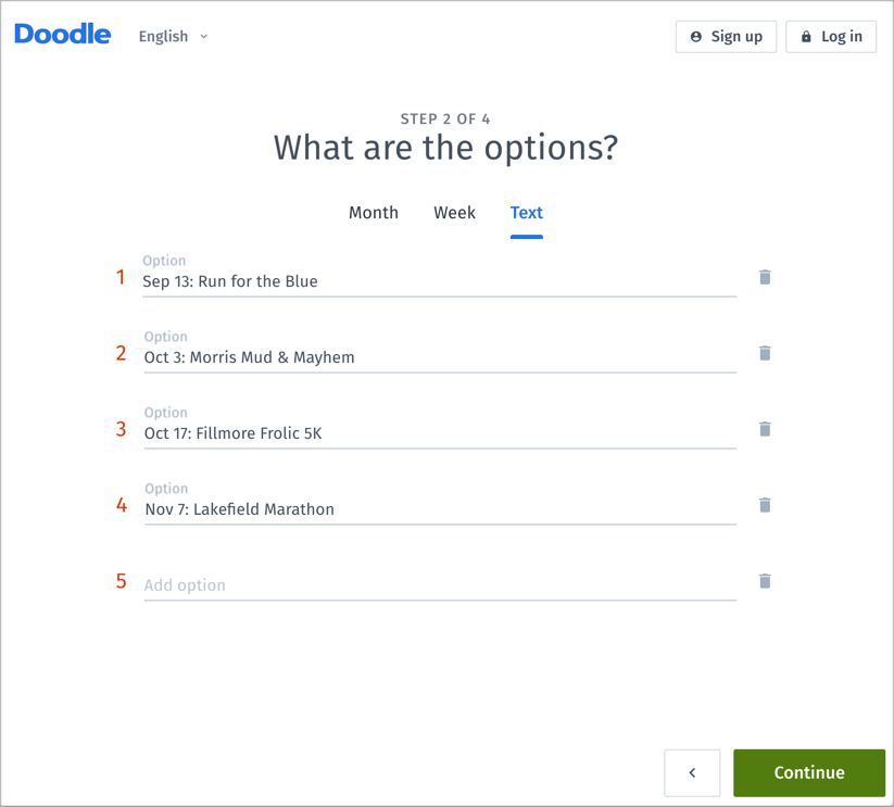 Doodle Options - Signup sheet