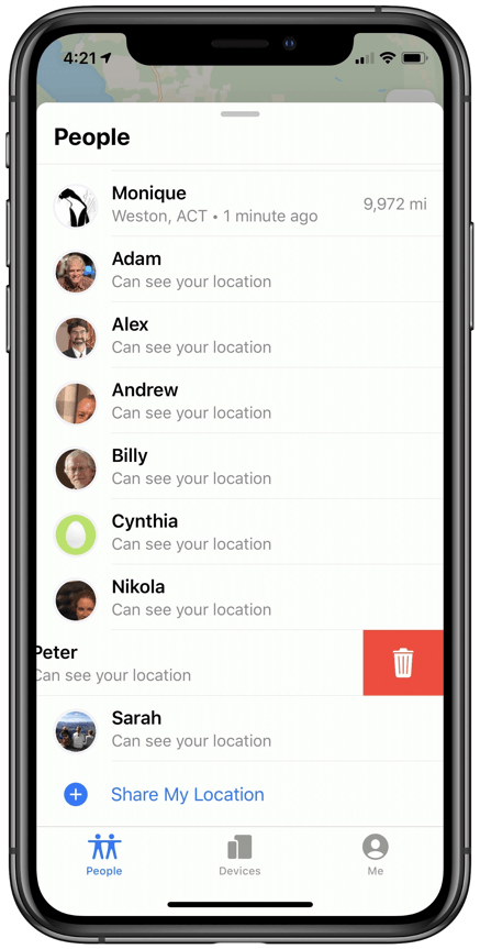 Audit friend location tracking